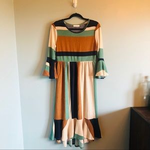 Reborn J Striped Color Block Dress- Large